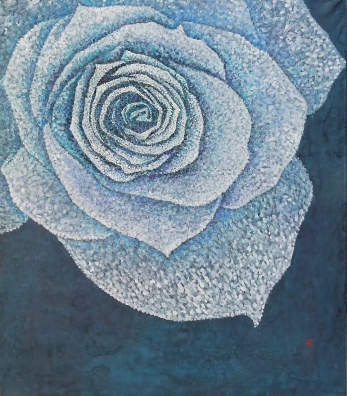 박환숙 파란 장미 73.0x60.0cm 한지위에 채색 2019.jpg